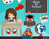 Back to school Clipart. Cute students, black board, school supplies, apple, owl, stack of books, backpack, african american student graphics