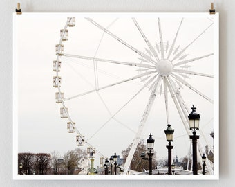 Paris Photography Ferris Wheel, Paris Print, Large Art Print Fine Art Photography