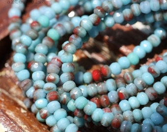 sale .. RED TURQUOISE .. 50 Fire Polished Blue Czech Glass Beads 2x3mm (1511-st)