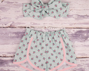 Baby Girl Clothes, Toddler Girl Clothes, Shorts, Girls Summer Retro Scalloped Short by Charming Necessities Cottage Chic Mint