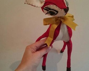 Made to order - Bright Red Fawn - Red Suede Leather & Cream Felt Hand Stitched Deer - Limited Edition