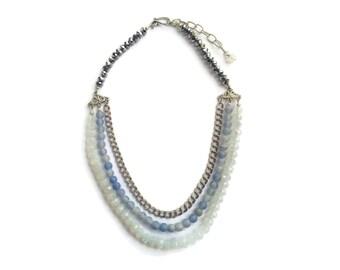 Rain Goddess – Blue/White Statement Necklace - Beaded Gemstone 3-Strand Collar – Agate/Moonstone/Silver – Mishimon Designs