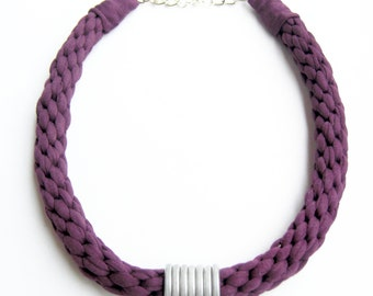 Purple Knitted Statement Necklace, Purple Kumihimo Necklace, Aubergine Cotton Necklace, Purple Woven Necklace, Purple and Silvered Jewelry.