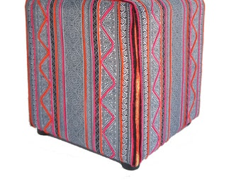 vintage hmong textile cube ottoman