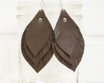 recycled, leather feather earrings, leaf earrings, boho earrings, earrings, dangle earrings, feather earrings, tassel earrings, stacylynnc
