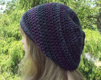 Slouchy Beanie, Womens Crochet Hat, Plum Gray Multicolor Slouch Beanie, Oversized Hipster Hat, Slouch Hat, Baggy Beanie Boho Slouchy Hat
