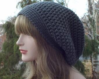 Slate Gray Slouchy Beanie, Womens Crochet Hat, Slouchy Hat, Oversized Slouch Beanie, Chunky Hat, Baggy Beanie, Winter Hat, Slouch Hat