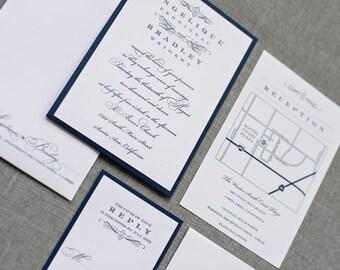 Navy Blue Wedding Invitation | Formal Pocket Wedding Invite | Pocket Invitation Suite | Vintage Wedding | Traditional | Angelique & Bradley