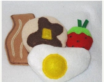 SUNNY BREAKFAST felt play Pretend Food egg, bacon, pancake, and a strawberry #PF2532