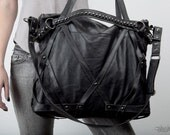 Rage Cage Black Leather Laptop Purse Bag