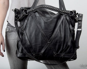 Rage Cage Black Leather Laptop Purse Bag - spiked detachable cuff and detailing