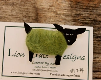 Sheep, Needle Felted Olive Green Sheep Pin, Wearable Lammies in Jammies, Felted Sheep Brooch, # 1744