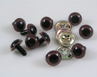 Toy Safety eyes 15mm Brown animal eyes with washers available in packs of 10, 50 or 100 eyes and washers