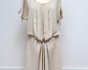 Pleated dress, Flowing dress, Beige dress, Nude, Ivory