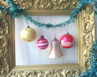 4  Christmas tree ornaments baubles balls bell Vintage Shiny Brite West German pink red and gold mercury glass Holiday F2