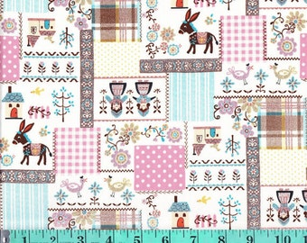 Kokka Japan - Glitter Scandinavian Patch Fabric Print K475B  - 1/2 yard