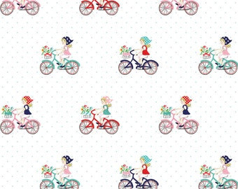 Vintage Market Riley Blake cotton fabric - Vintage Bike Ride VM4561 Mint, select a length