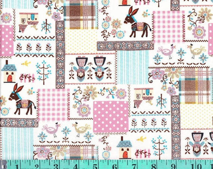 Kokka Japan - Glitter Scandinavian Patch Fabric Print K475B  - 1/2 yard