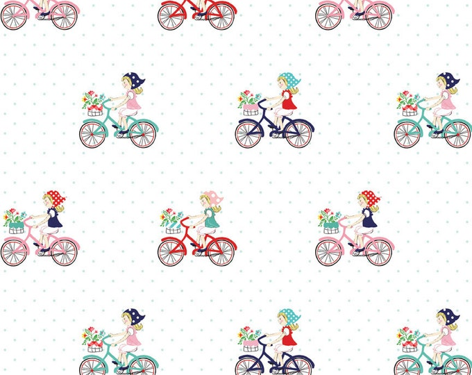 Vintage Market Riley Blake cotton fabric - Vintage Bike Ride VM4561 Mint, select a length