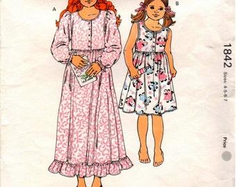Vintage Kwik-Sew Pattern 1842 - Girls Nightgowns Designed for Lightweight Woven Fabrics - Sizes 4-7