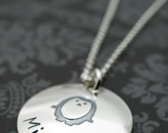 Personalized Penguin Necklace in Sterling Silver - Baby Name Pendant - You're My Penguin Necklace by Eclectic Wendy Designs