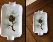 RESERVED, SMOKE 'EM if You Got 'Em: Vintage Ashtray, Porcelain, Pine Cone and Needles, Gold Gilt, Made in Japan // Spoon Rest, Jewelry Dish