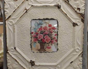 TIN CEILING Creamy White Metal Picture Frame 8x10 Shabby Recycled chic 442-16