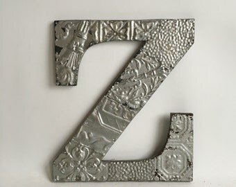 "Tin Ceiling Wrapped 16"" Letter ""Z"" Silver Patchwork Reclaimed Metal Mosaic Wall Hanging 224-16"
