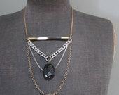 Porcupine Quill and Black Quartz Geometric Statement Necklace