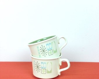 Pair of 1950s Atomic Coffee Mugs // Taylorstone Cathay  // Mid Century design