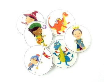 "6  Dragon and Knight Buttons. Handmade Buttons.  6 sewing buttons. 3/4"" or 20 mm round."