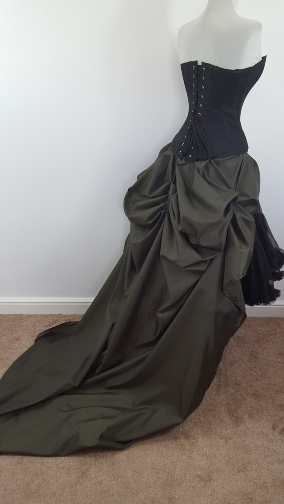 khaki tie on bustle skirt one size fits all
