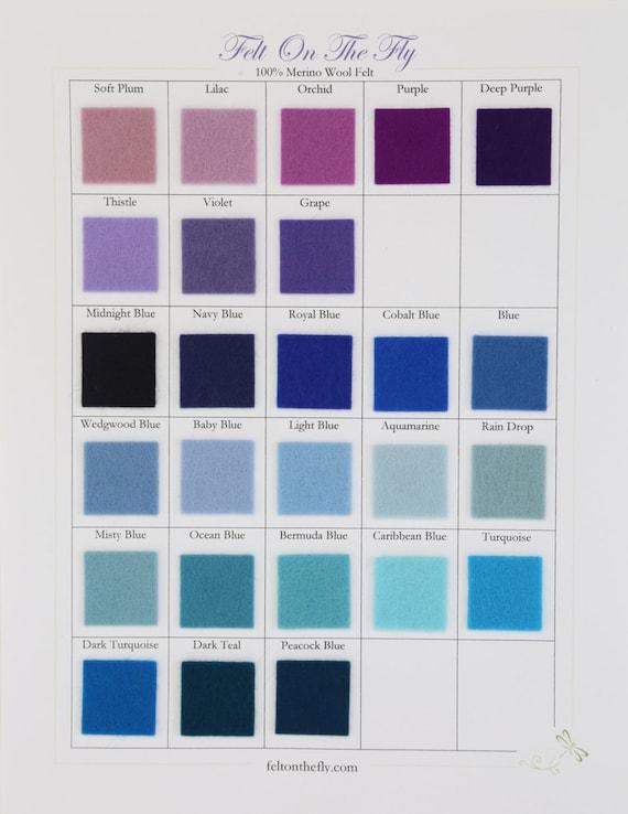 Wool Felt, CHOOSE THREE, 8 x 12, Purple Felt, Blue Felt, DIY Felt Crafts, Felt Toys, Applique