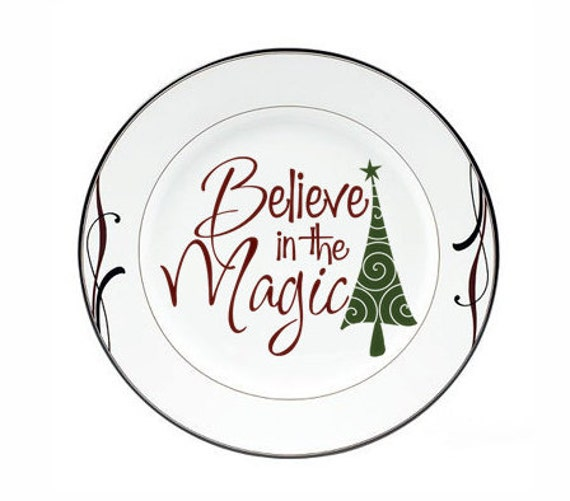 """Christmas Decorations Holiday Decal """"Believe in the Magic"""" Tree Vinyl Decal Sticker Tile Decal Christmas Charger Plate Decal Holiday Sign"""
