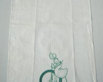 Vintage Towel Embroidered Green Girl on a Bicycle MINT