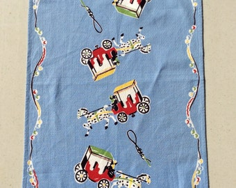 Vintage Towel Carriage Ride w a Polka Dot Horse