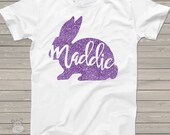 Easter girls personalized shirt - Easter bunny glitter shirt - choose your glitter color t-shirt