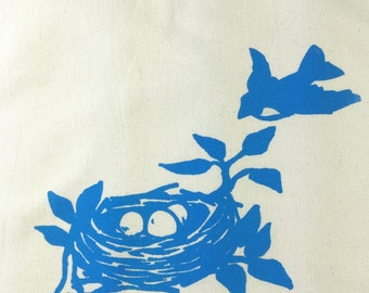 Tea Towel Dish Towel Natural Flour Sack Material Blue Bird Nesting Eggs