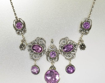 Antique Silver Amethyst Necklace, Edwardian Necklace, Italian Antique Jewelry, February Birthstone, Sterling Amethyst Choker Necklace