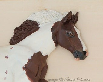 Gypsy Vanner Horse Sculpture Polymer Clay Horse Wall Art, Pinto Horse Lover Gift, Equestrian Decor, Bas Relief Sculpture