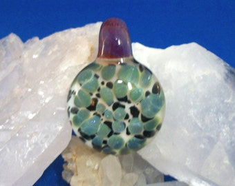 Flame worked glass focal pendant