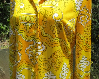 Vintage Pykettes Blouse Fabulous Bright & Wild Pattern In Yellow, Orange and Gold