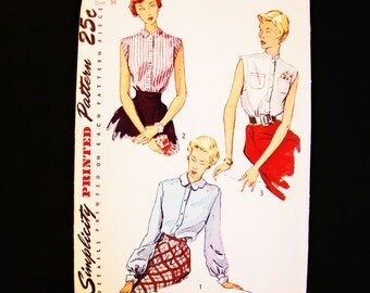 Womens 1940s Blouse Pattern Simplicity Misses Size 16 Bust 34 Womens Dart Fitted Blouse Vintage Sewing Pattern 40s