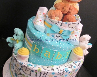 Diaper Cake - Teal Bear Topsy Turvy Diaper Cake - Baby Gift - Baby Shower - Centerpiece