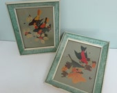 Pair of Mid-Century Bird Prints, IBF Co., Baltimore Orioles & Scarlet Tanagers, Green and Cream Wood Frames