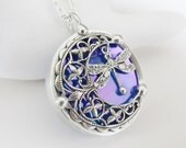Stained Glass Pendant Necklace Crescent Moon Dragonfly Iridescent Blue