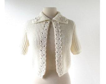 Vintage 1950s Cardigan | Rhinestone Beaded Sweater | 50s Sweater | XS S