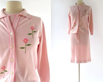 Knit Dress Set / 1960s Dress and Cardigan / Pink Floral Sweater Dress / Vintage 60s Dress / Small S