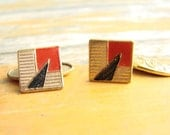 Vintage ART DECO and Art NOUVEAU Reversible French Cuff Links -- 1940s England, Gold with Red and Black, Geometry and Nature, Unisex