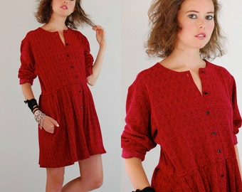 Grunge Mini Dress Vintage Red Houndstooth Plaid Oversized Slouchy Grunge Drop Waist Mini Dress (os)